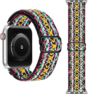 Stretchy Elastic Solo Loop Bands Compatible with Apple Watch Band 45mm 42mm 44mm Adjustable Sport Band Women Men Replacement for IWatch Series 7 6 SE 5 4 3 2 1 Serape Tribal
