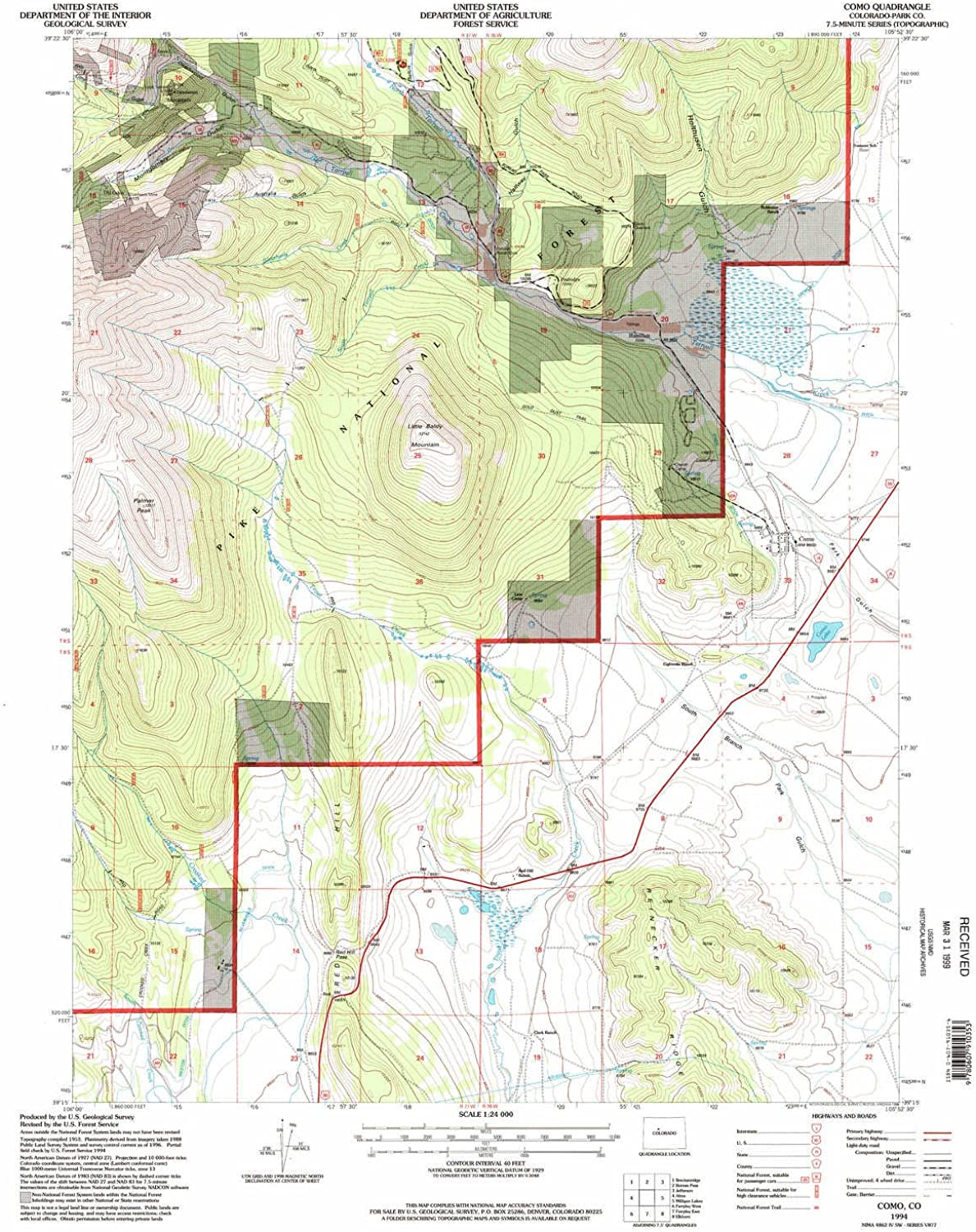 Como CO topo map, 1 24000 Scale, 7.5 X 7.5 Minute, Historical, 1994, Updated 1998, 26.8 x 21.9 in