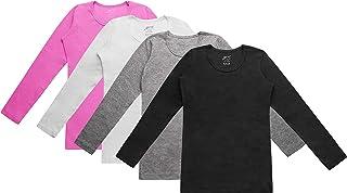 Brix Girls' Long Sleeve Tees - 4 -Pack Crew Neck Super Soft Cotton T Shirts.