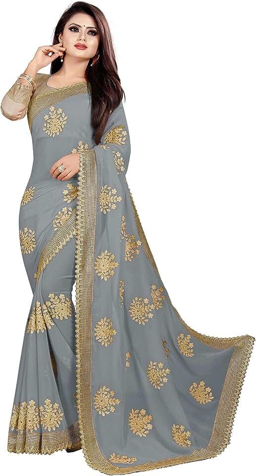 Indian JULEE Women's Embroidery Georgette Saree (Chain Grey-02_Grey) Saree