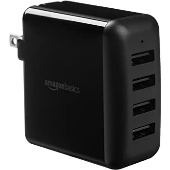 AmazonBasics 40W 4-Port Multi USB Wall Charger, Black