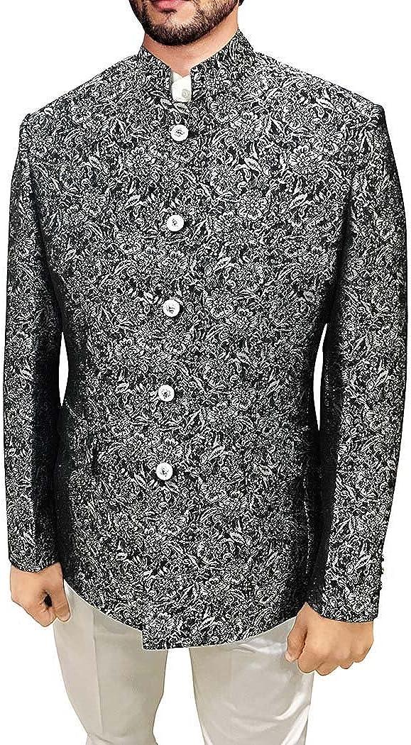 INMONARCH Mens Black Polyester 2 Pc Jodhpuri Suit Floral Designs JO491