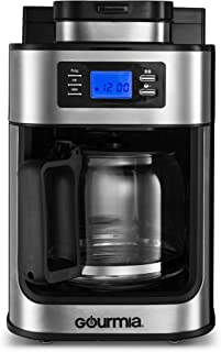 Gourmia GCM470 Coffee Maker with Built-in Grinder - Beans or Pre-Ground - Programmable Timer & LED Display - 10 Cup - Automatic Drip - Glass Carafe - Auto Shut-Off - Stainless Steel
