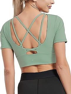 DEMOZU Women's Workout Crop Top Scoop Neck Padded Bra Short Sleeve Shirt