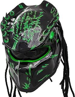 Predator Motorcycle Helmet - DOT Approved - Unisex - Alien Green Spiked