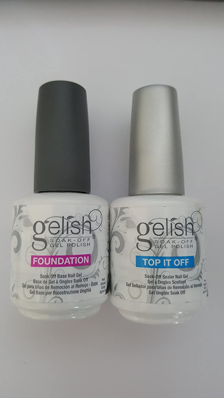 排泄物ドロップオーロックHARMONY gelish Top it Off/Foundation( ハーモニー ジェリッシュ ファンデーション ベースジェル &シーラージェル) (15ml)2点セット