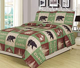 HowPlumb Full/Queen Size Log Cabin Bear Quilt Set Country Rustic Lodge Cottage Bedspread Coverlet