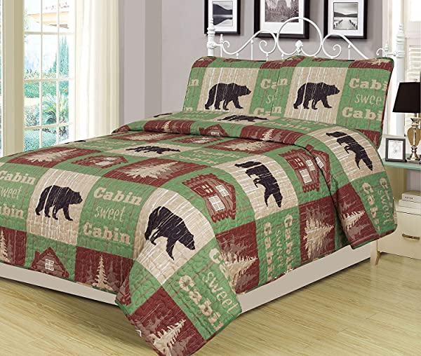 Full Queen Size Log Cabin Bear Quilt Set Country Rustic Lodge Cottage Bedspread Coverlet