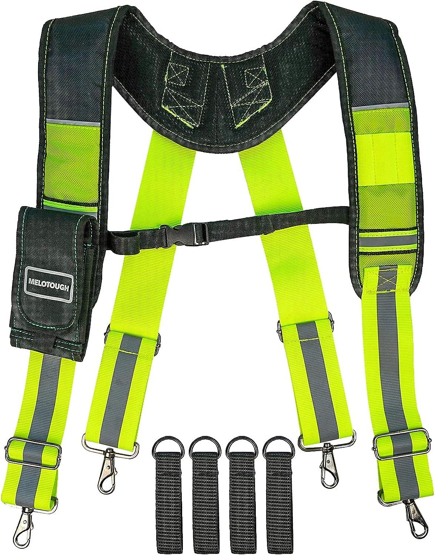 MELOTOUGH Reflective Safety Suspenders Tool Belt Suspenders Construction Work Suspenders with detachable phone holder comfortable foam shoulder padder (Lime)