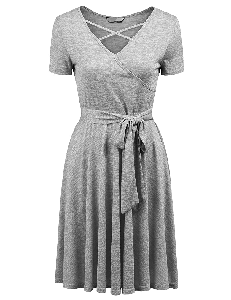 Showyoo Women Lace Short Sleeve Round Neck Summer Flared Midi Dress with Belt