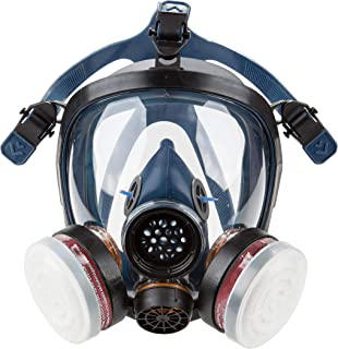 Induschoice Organic Vapor Full Face Respirator Mask Gas Mask Paint Pesticide Chemical Formaldehyde Anti Virus Respiratory Protection(Respirator +1 Pair LDY3 Cartridges)