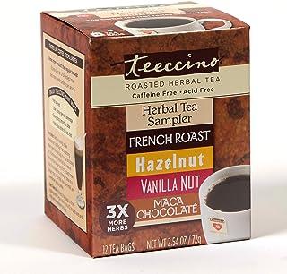 Teeccino Herbal Tea Sampler Assortment - Maca Chocolaté, French Roast, Hazelnut, Vanilla Nut – Chicory Coffee Alternative | Prebiotic | Caffeine Free | Acid Free | Coffee Substitute, 12 Tea Bags