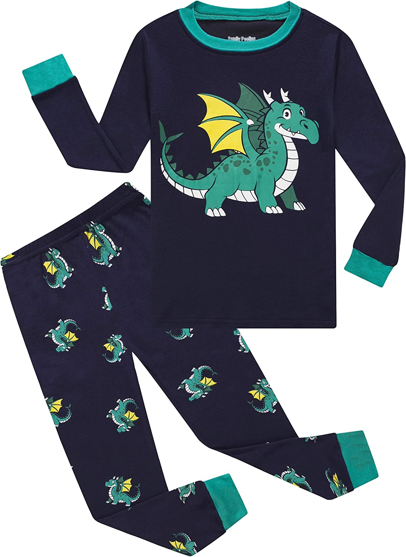 Family Feeling Dinosaur San Francisco Mall Little Boys Houston Mall Cotto 100% Pajamas Sets Kids