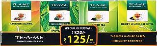 TE-A-ME Green Tea Sampler of Kashmiri Kahwa Green Tea, Tulsi Green Tea, Green Tea, Honey Lemon Green Tea (10 Tea Bags in E...