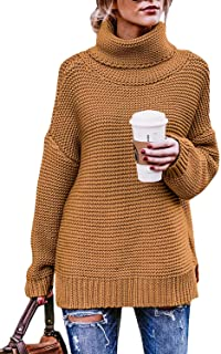 Goldpkf Womens Long Sleeve Fashion Casual Turtleneck Pullover Chunky Knit Sweater Tops