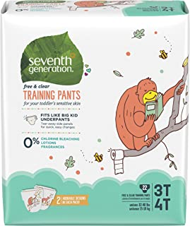 Seventh Generation Baby & Toddler Training Pants,  Free & Clear,  Large Size 3T-4T 32-40lbs,  22ct
