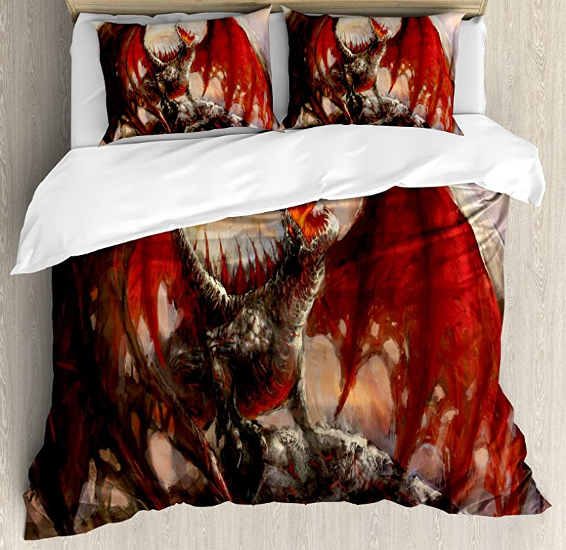 Ambesonne Fantasy World Duvet Cover Set Queen Size, Majestic Dragon Resting on Mountain Mythological Fire-Spewing Creature Print, Decorative 3 Piece Bedding Set with 2 Pillow Shams, Brown Red