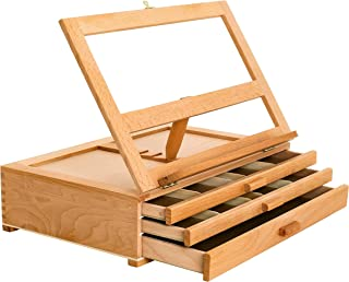 Us Art Supply Grand Solana 3-Drawer Adjustable Wooden Storage Box with Fold