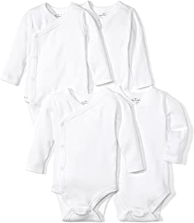 Moon and Back Baby Set of 4 Organic Long-Sleeve Side-Snap Bodysuits