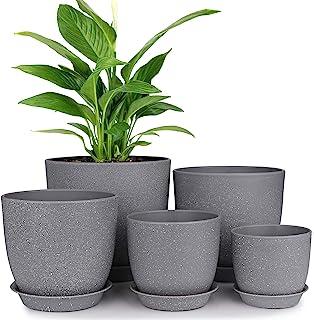 Set of 2 Oversized Modern Flower Pot Textured Round Planter Stand Garden Decor