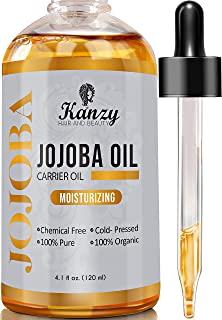 Kanzy Jojobaolja Organisk Kallpressad 100% Ren 120ml Oraffinerad Hexanfri Bärolja Jojoba Oil för Ansikte, Hår, Naglar, Kro...