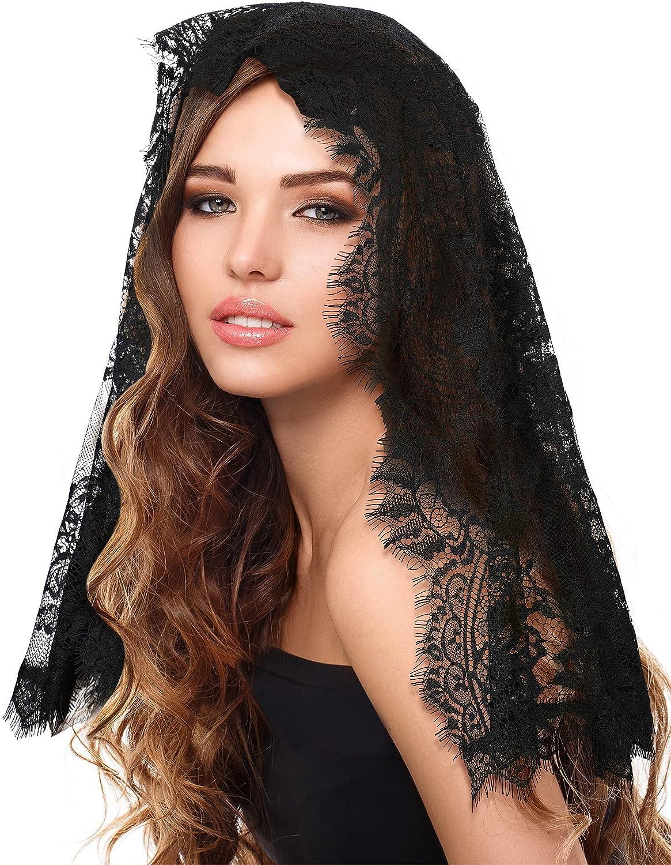Soft Lace Veil Mantilla Catholic Veil Shawl Floral Bridal Veil Wedding Church