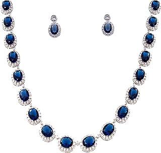 テニス楕円形ネックレス&イヤリングジュエリーセットAAAキュービックジルコニアロジウムメッキ ブルー