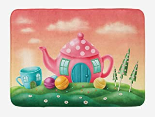KLYDH Fantasy Bath Mat, Fantasy Teapot and Cup Houses Wonderland Theme Meadow Teatime Happiness Artwork, Plush Bathroom Decor Mat with Non Slip Backing, Pink Green,Size:15.7X23.6 Inches,40cmX60cm