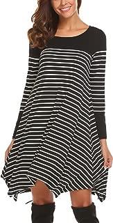 Women Casual Long Sleeve Handkerchief Hem Striped Tunic Loose T Shirt Dress