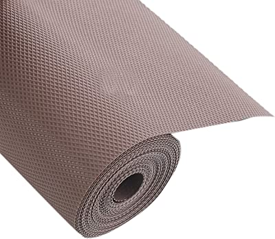 Kuber Industries Multipurpose Textured Super Strong Anti-Anti Skid Mats and Liners for Drawer, Refrigerator, Cupboard, Shelf, Cabinet, Wardrobe, Fridge and Dining - Size 45X500cm (5 Meter Roll, Brown)