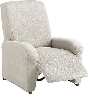comprar comparacion textil-home Funda de Sillón Elástica Relax Completo TEIDE, Tamaño 1 Plaza - Desde 70 a 100 cm. Color Marfil