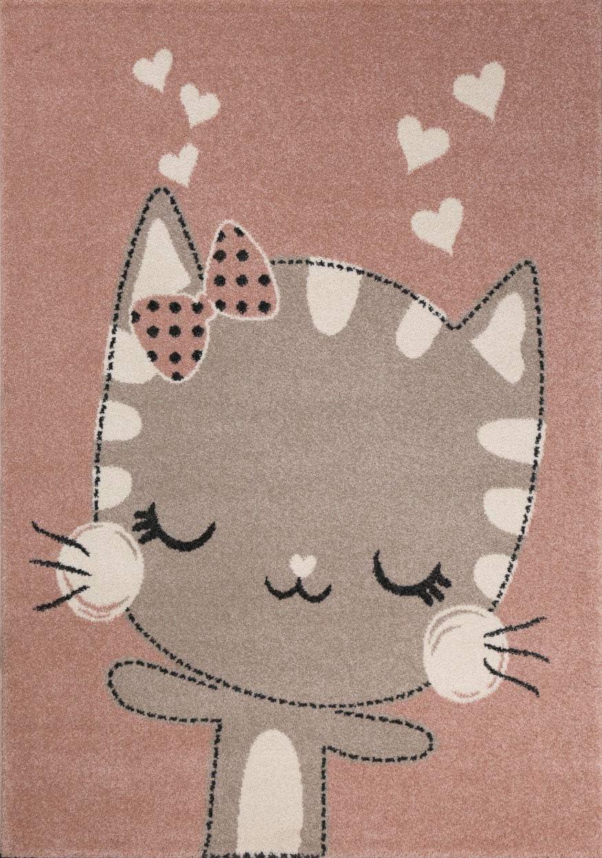 Teppich f/ür Kinderzimmer | Kinderteppich Happy Kitty Tiere Katze Kinderteppiche f/ür M/ädchen und Jungen Farbe: Rosa /& Grau |Schadstofffrei Kinderzimmerteppiche gepr/üft von /Öko-Tex 120x170 cm