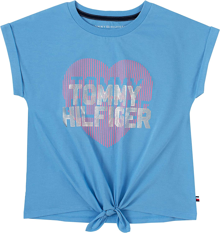 Tommy Hilfiger Girls' Short Sleeve Tie Knot Tee Shirt