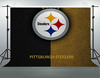 Football Theme Photography Backdrop, 7x5ft Soft Cotton Washable, Pittsburgh Steelers NFL Backgrounds, Party Events Decor Supplies Banner, YouTube Photo Shooting Props LYFS1418