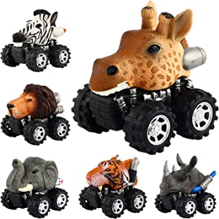 Pull Back Animal Car, Car Toy with Big Tire Wheel(6 Pack) For 3+ Years Old Boys Girls, Monster Vehicle Playset Preschool Learning Birthday, Jungle Themed Party Favors Creative Gifts for Kids Children