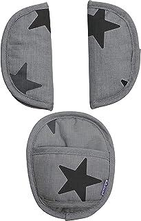 Original Dooky Universal Pads Grey Stars Gurtschoner & Gurtpolster geeignet für Altersgruppe 0 und 3 & 5 Punkt Gurte für Babyschale, Kinderwagen, Buggy & Autositz, grau