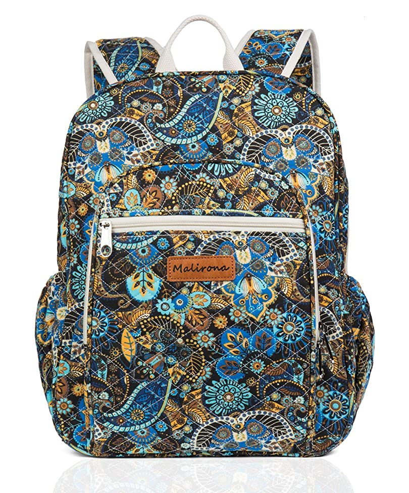 Malirona Canvas Campus Laptop Daypacks Backpack School Bags For Women And Men - Laptop Carrying, Trolley Sleeve, 7 Colors (Black Flower)
