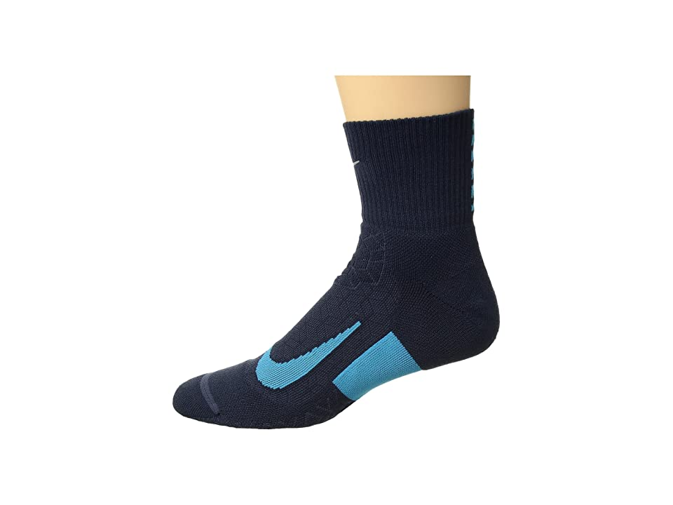 Nike Elite Cushion Quarter Running Socks (Thunder Blue/Light Blue Fury/Light Blue Fury) Quarter Length Socks Shoes
