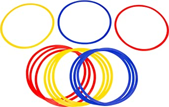 Trademark Innovations Speed and Agility Training Rings (Set of 12), Multi Color, 16-Inch