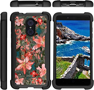 TurtleArmor | Compatible with ZTE Imperial Max Case | Max Duo | Grand X Max 2 [Grip Combat] Hard Impact Dual Resistant Armor Kickstand Defender Case Girls - Captivating Pink Floral