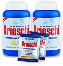 Brioschi Effervescent 8.5oz Bottle The Original Lemon Flavored Italian Effervescent (2 Bottles + 2 Travel Packs)