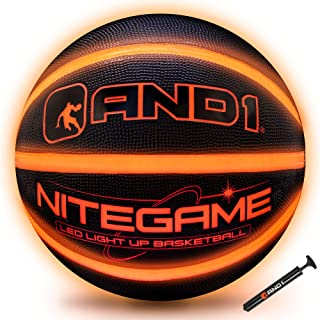 AND1 LED Light Up Basketball & Pump Bundle (Deflated w/Pump Included): Nitegame Glow in The Dark Ball- Night Ball for Indoor and Outdoor Games - Impact Activated Glowing Basketball