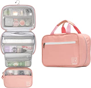 Lavievert Hanging Toiletry Bag Makeup Organizer Cosmetic Bag Waterproof Travel Accessories Dopp Kit For Women And Men - Pink