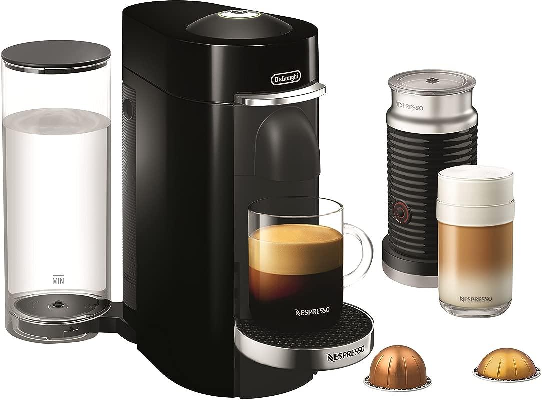 Nespresso By De Longhi ENV155BAE VertuoPlus Deluxe Coffee And Espresso Machine Bundle With Aeroccino Milk Frother Black