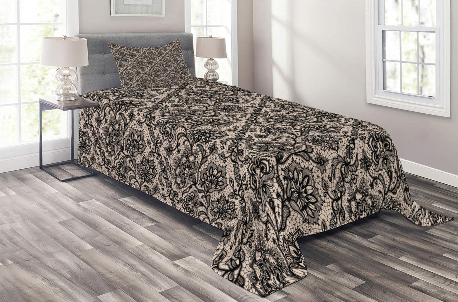 Ambesonne Gothic Coverlet Abstract Graphic Super intense SALE Pattern Lace Fl Ultra-Cheap Deals with