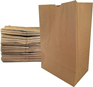 Large Paper Grocery Bags, 12x7x17 Kraft Brown Heavy Duty Sack 57 Lbs Basis Weight (100)