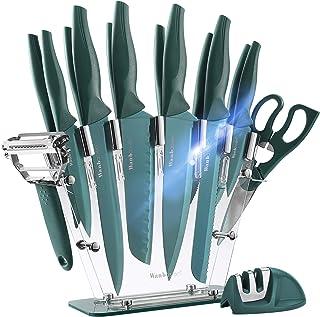 Wanbasion Vert Bloc de Couteaux de Cuisine avec Support Acrylique, Set de Couteaux Cuisine en Acier Inoxydable, Couteau Cu...