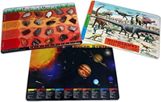 Painless Learning 3 Placemat Bundle: Dinosaurs, Solar System, Rocks and Minerals