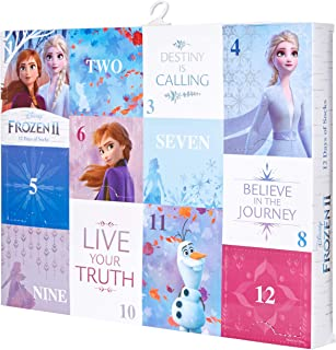 Disney Women's 12 Days Advent Box, Assorted Bright-Frozen 2, Fits Sock Size 9-11 Fits Shoe Size 4-10.5