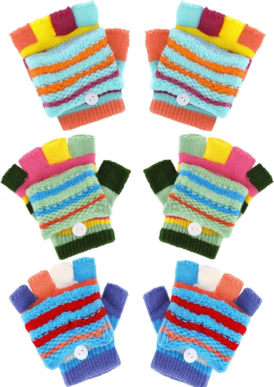 Boao 3 Pairs Kids Fingerless Gloves Convertible Flip Top Gloves Winter Knit Mittens